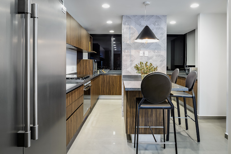 NIVEL TRES ARQUITECTURA Modern kitchen Wood Wood effect