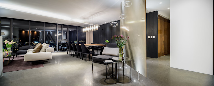 NIVEL TRES ARQUITECTURA Modern dining room Marble Grey