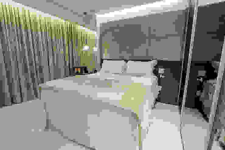 Detalhe da cabeceira e cama Carolina Fontes Arquitetura Quartos modernos