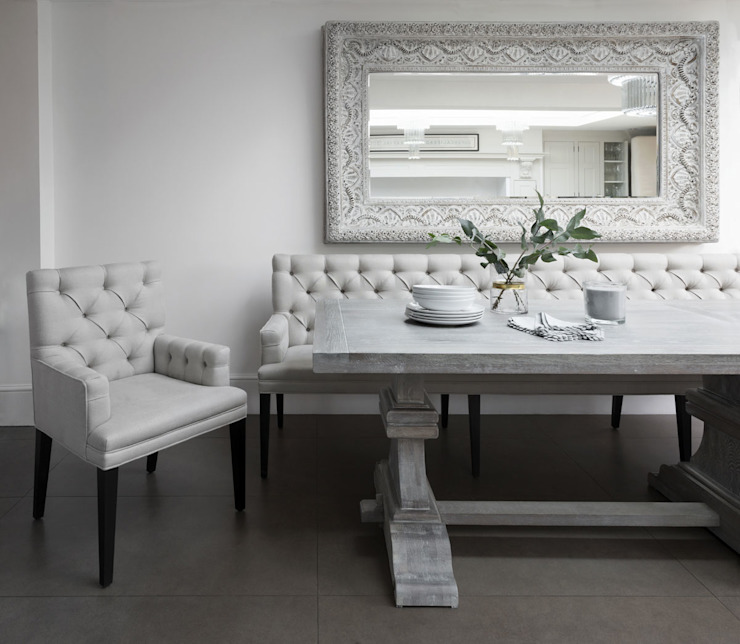 Lovely White Elegance Sweetpea and Willow® London Ltd Dining roomChairs & benches Flax/Linen White