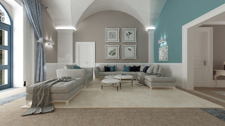 VILLA DG Soggiorno in stile mediterraneo di De Vivo Home Design Mediterraneo