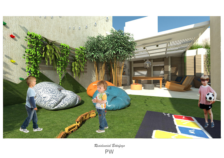 Projeto de parque infantil Jardins minimalistas por Paula Werneck Arquitetura Minimalista