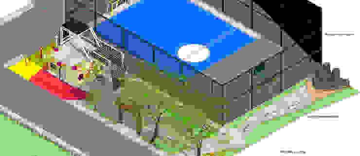 Isometria U.D.I Veracruz Balcones y terrazas de estilo moderno de Taller de Desarrollo Urbano Moderno