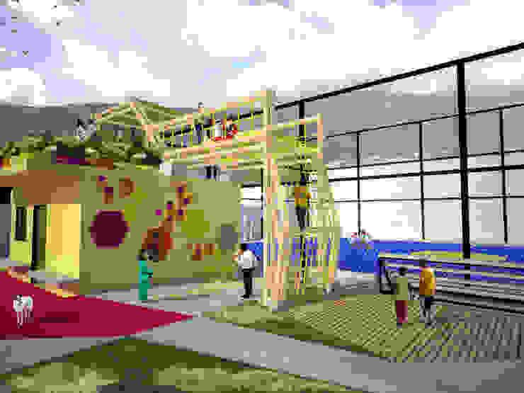 Area de juegos para niños terraza jardin y area taller Balcones y terrazas de estilo moderno de Taller de Desarrollo Urbano Moderno