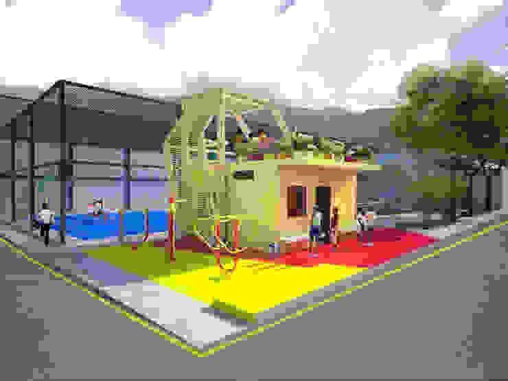 Area taller (antigua casilla policial) terraza jardin y gimnasio al aire libre Balcones y terrazas de estilo moderno de Taller de Desarrollo Urbano Moderno