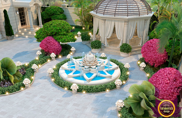 ​Beautiful landscape design from Katrina Antonovich Mediterranean style garden by Luxury Antonovich Design Mediterranean