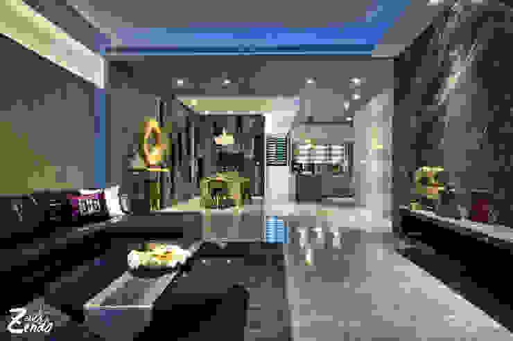 中山朕之道 现代客厅設計點子、靈感 & 圖片 根據 Zendo 深度空間設計 現代風