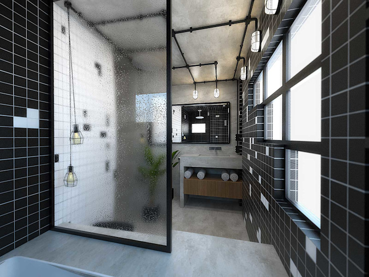 Industrial style bathroom by TÉRREO arquitetos Industrial