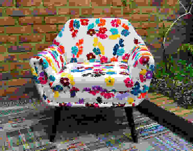 Poltrona tejida a mano de india de SARRIA HOME Asiático Textil Ámbar/Dorado