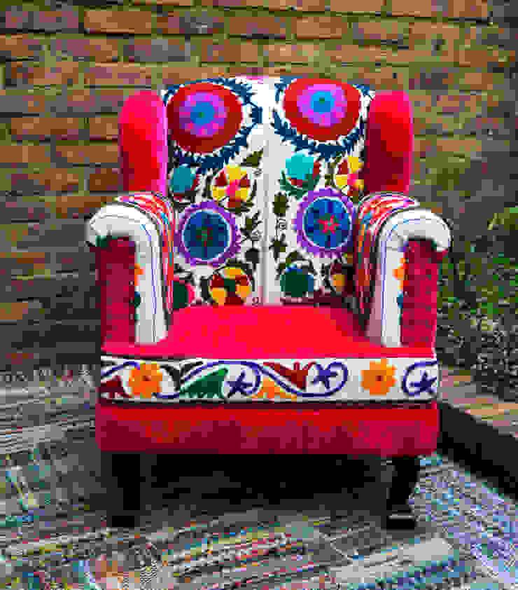 Poltrona en patchwork de india de SARRIA HOME Asiático Textil Ámbar/Dorado