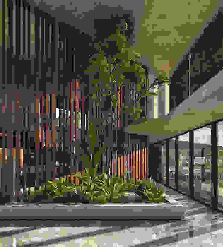 vestíbulo de acceso CARCO Arquitectura y Construccion Pasillos, vestíbulos y escaleras de estilo moderno Madera maciza Beige