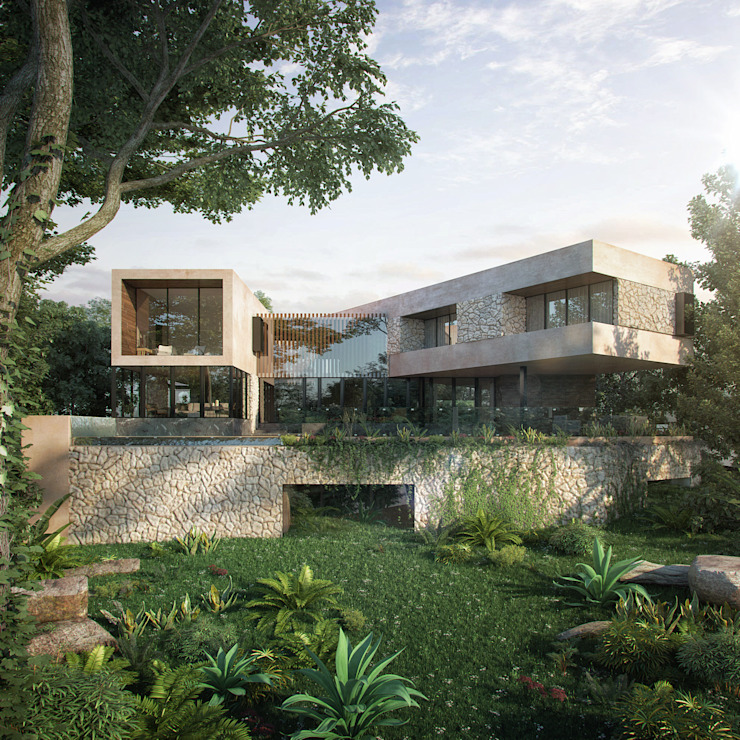 CARCO Arquitectura y Construccion Modern houses Wood Beige