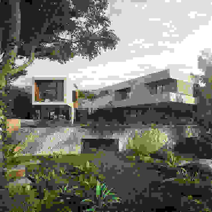 fachada posterior CARCO Arquitectura y Construccion Casas modernas Madera Beige