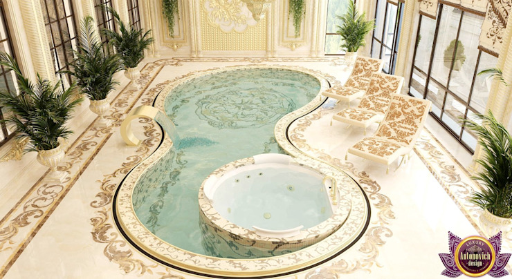 Luxurious pool design from Katrina Antonovich by Luxury Antonovich Design Asian