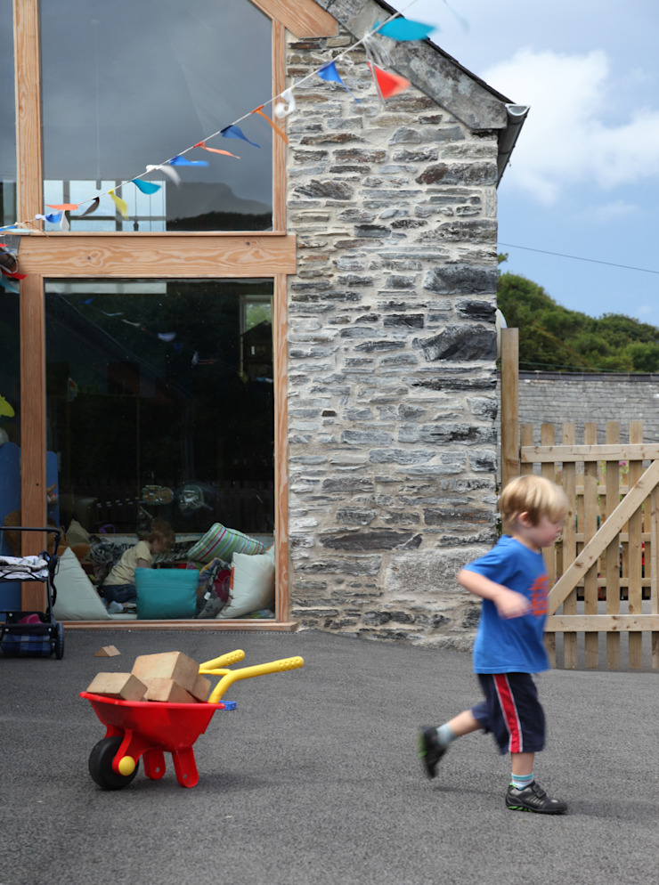 Boscastle Pre-school playground Innes Architects Schools Wood Brown