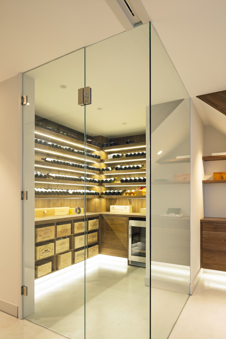Wine cellar Modern Home Wine Cellar by Fraher and Findlay Modern Glass