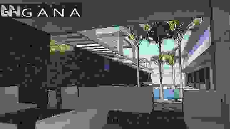 Lobby de acceso a la posada, techado y al aire libre permitiendo vista total del área recreativa de Grupo GANA, C.A. Moderno