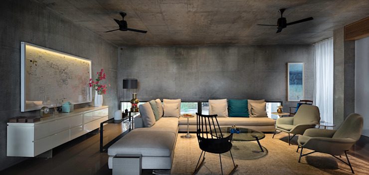 Private Residence Ahmedabad Modern living room by Blocher Blocher India Pvt. Ltd. Modern Concrete