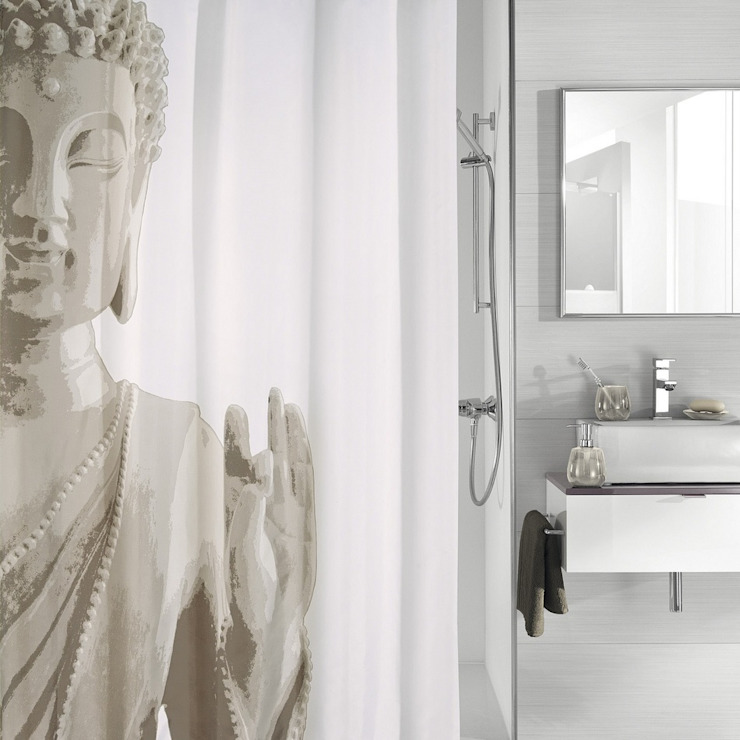Budda Taupe Shower Curtain King of Cotton BathroomTextiles & accessories