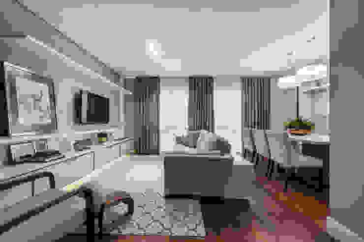 Treez Arquitetura+Engenharia غرفة المعيشة MDF White