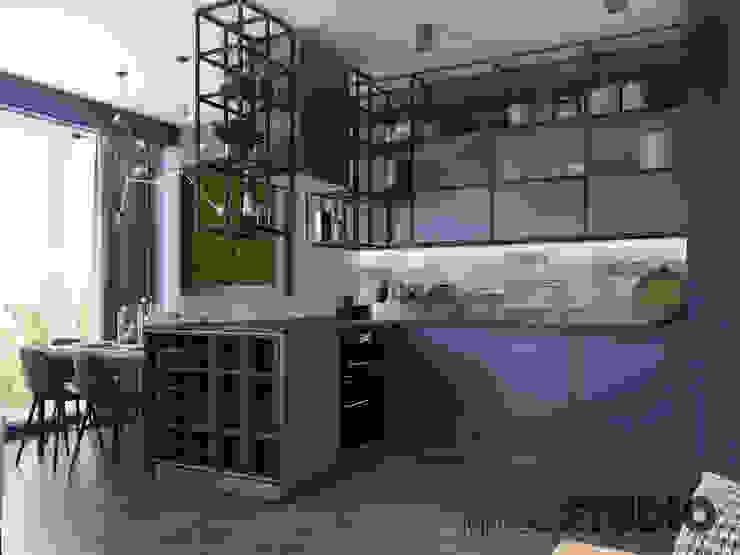 niebieska kuchnia MIKOŁAJSKAstudio Industrialna kuchnia