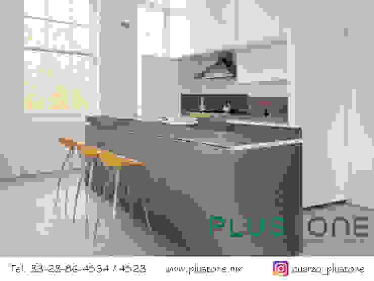 Cubierta de cuarzo Cement Cocinas minimalistas de PLUSTONE Minimalista Cuarzo