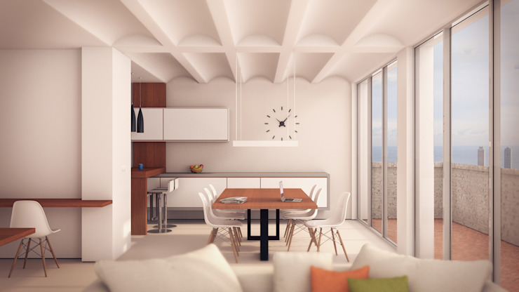 Projecte per reformar la zona de cuina-menjador Comedores de estilo minimalista de A2 arquitectura interior Minimalista