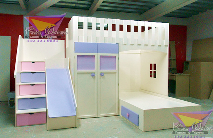 Hermosa litera juvenil con closet de camas y literas infantiles kids world Moderno Derivados de madera Transparente