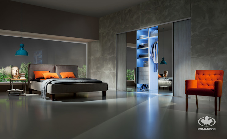 Komandor - Wnętrza z charakterem BedroomBeds & headboards Chipboard Wood effect