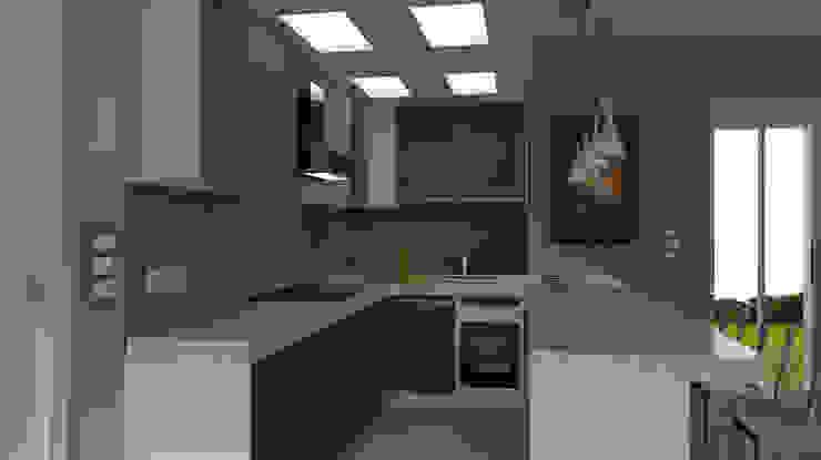 Cocinas de estilo moderno de virtual3dproject Moderno Madera Acabado en madera