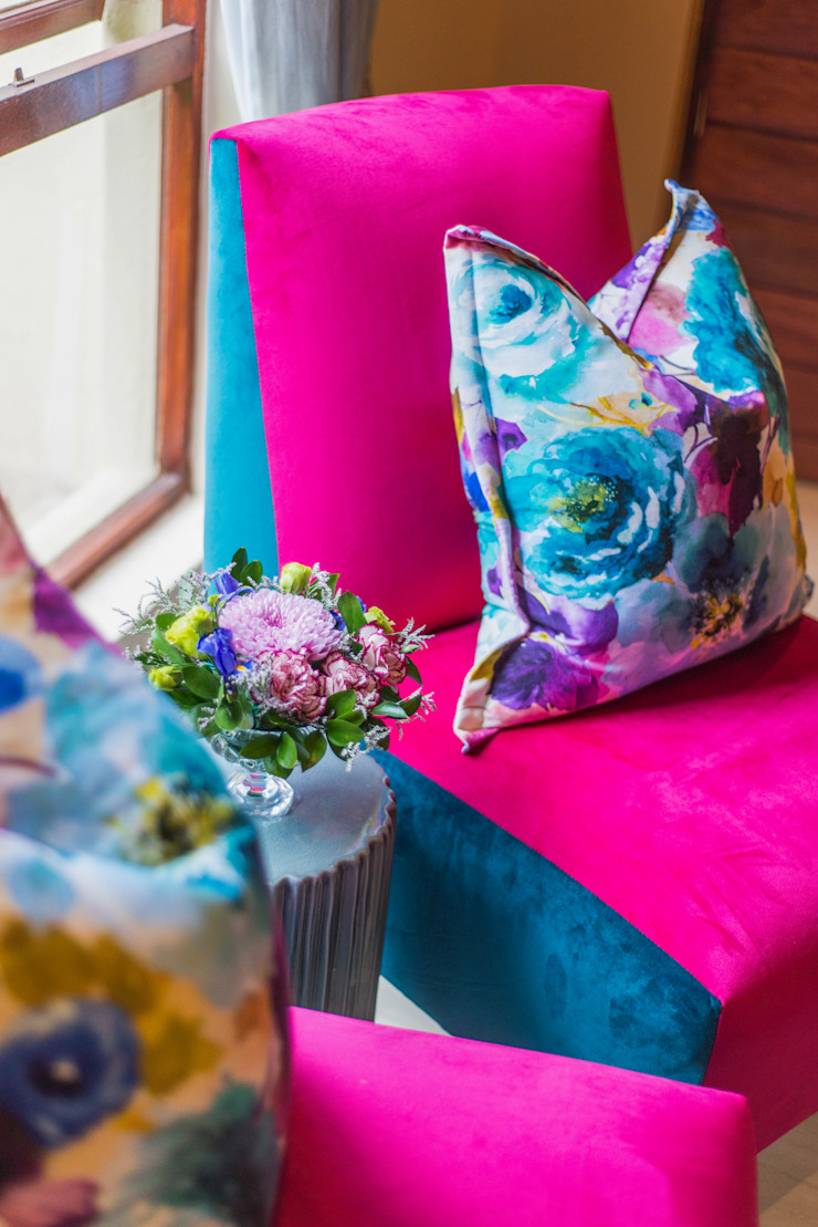 Colourful chair & cushion. Classic style study/office by Carne Interiors Classic