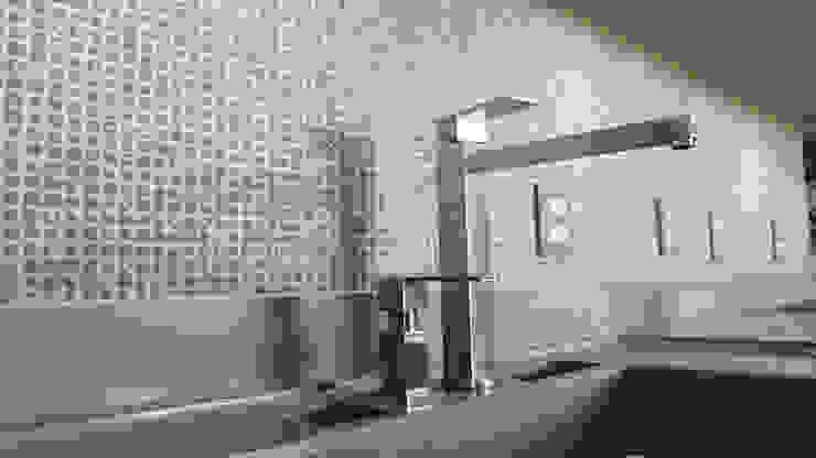 Luiz Coelho Arquitetura Modern kitchen Ceramic Grey