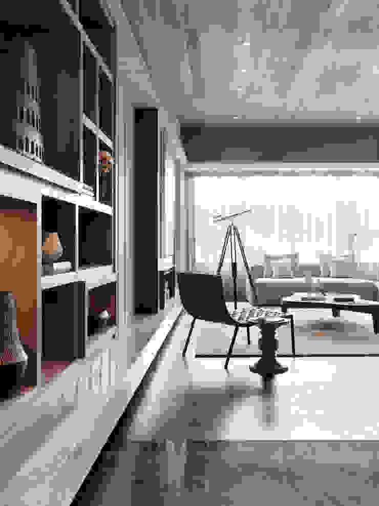 海洋都心3 现代客厅設計點子、靈感 & 圖片 根據 大觀室內設計工程有限公司 現代風