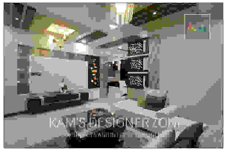Apartment in Pharande L- Axis Modern living room by KAM'S DESIGNER ZONE Modern