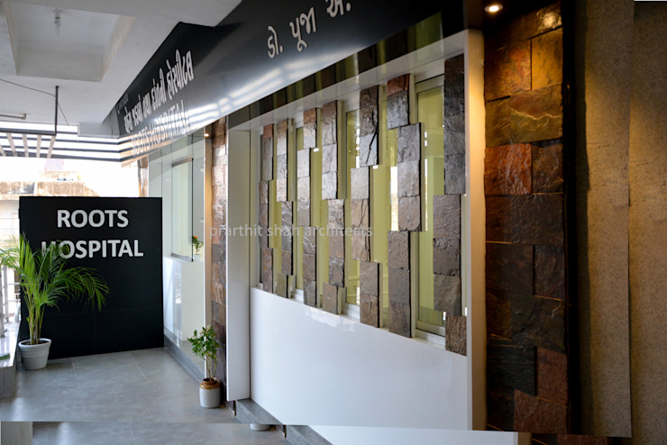 Dental Clinic Entrance Design Modern corridor, hallway & stairs by prarthit shah architects Modern