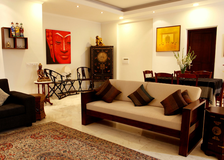 An apartment in Central Park 1, Gurgaon Modern living room by stonehenge designs Modern