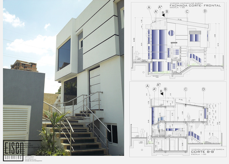 Fachada Frontal. Detalle de la escalera frontal exterior Casas de estilo escandinavo de Eisen Arquitecto Escandinavo Concreto