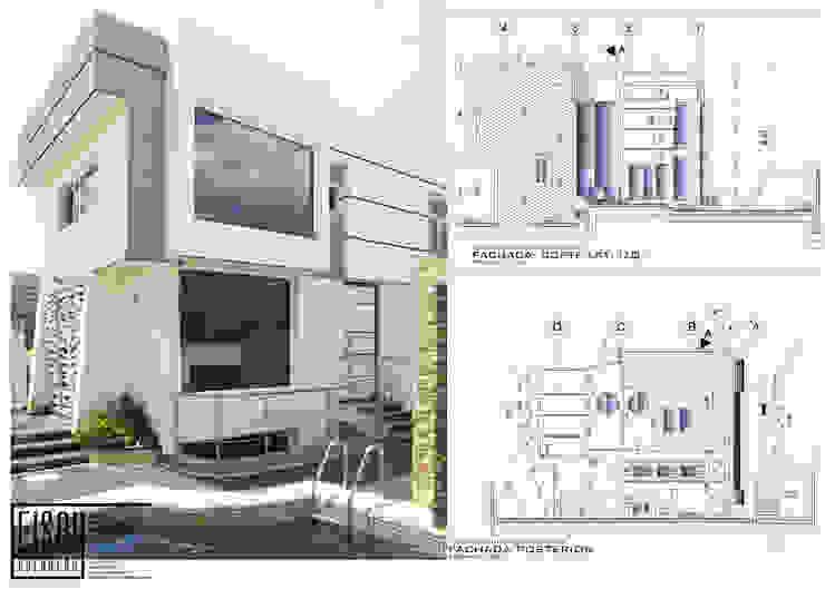 Fachada Frontal-Lateral (Este-Sur) Casas de estilo escandinavo de Eisen Arquitecto Escandinavo Concreto