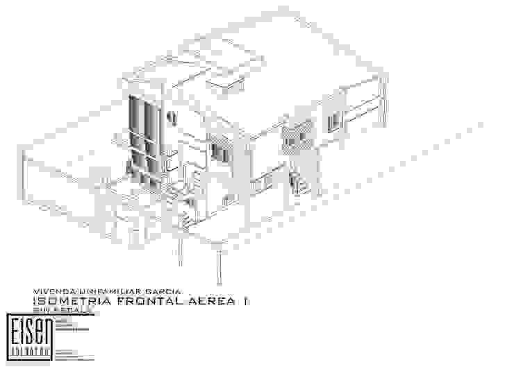 Isometría Frontal-Norte Casas de estilo escandinavo de Eisen Arquitecto Escandinavo Concreto