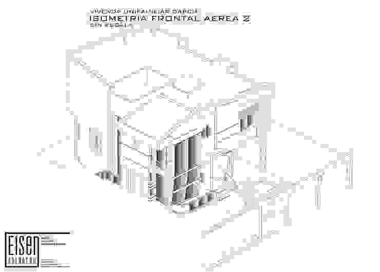 Isometría Frontal-Sur Casas de estilo escandinavo de Eisen Arquitecto Escandinavo Concreto