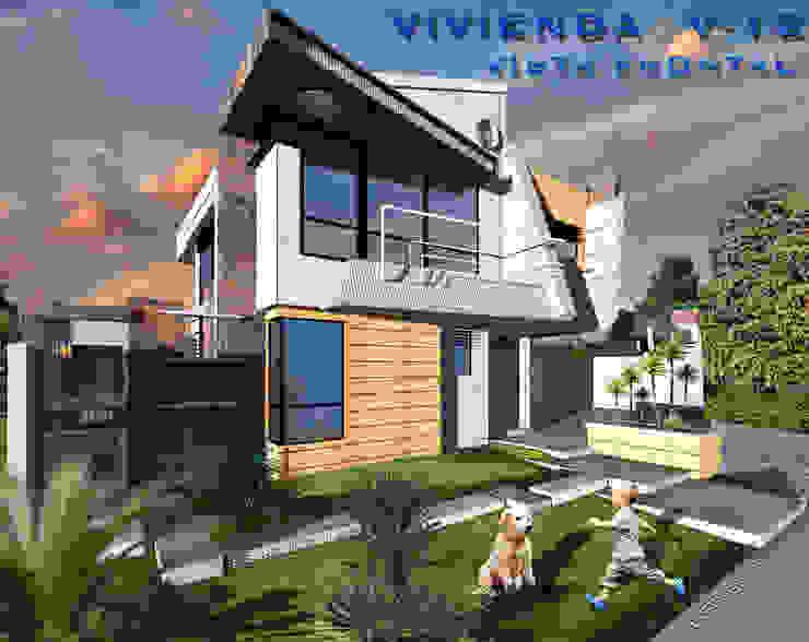 Vista Frontal sur/este. Vivienda V12. Casas escandinavas de Eisen Arquitecto Escandinavo Hormigón