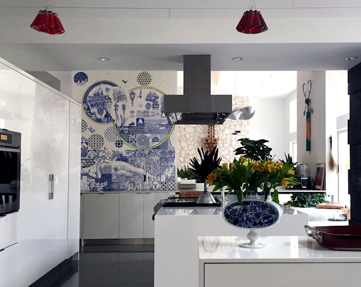 José den Hartog Eclectic style kitchen Tiles Blue