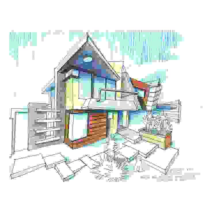 Vista Frontal sur/este a mano alzada. Vivienda V12. Casas escandinavas de Eisen Arquitecto Escandinavo Hormigón