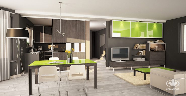Komandor - Wnętrza z charakterem Living roomCupboards & sideboards Chipboard Wood effect