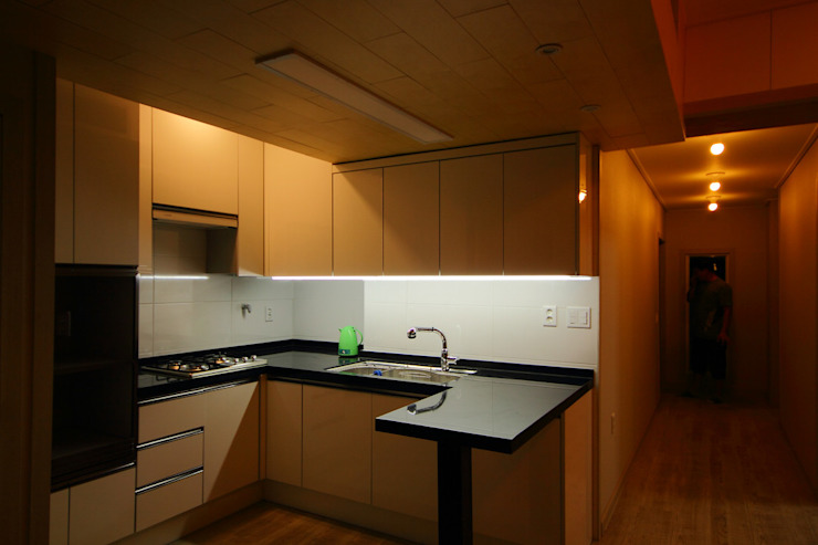 주택 인테리어 부분 모던스타일 주방 by inark [인아크 건축 설계 디자인] 모던 우드 우드 그레인