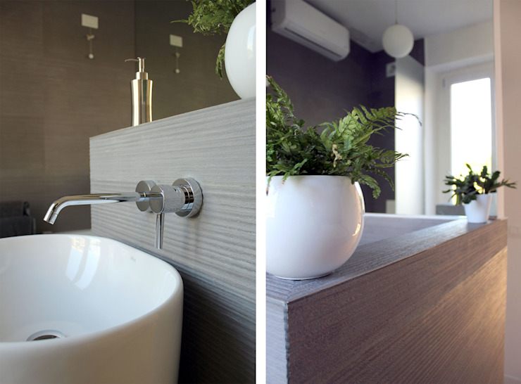 Bagno in Camera da Letto Matrimoniale Bagno moderno di Architetto Luigia Pace Moderno Piastrelle