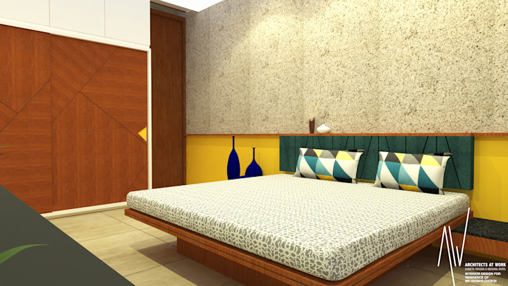 Interior of Ishwarbhai Modern style bedroom by Architects at Work Modern