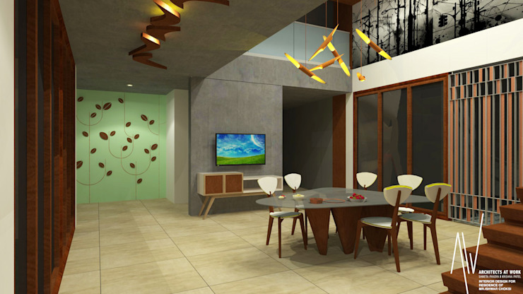 Interior of Ishwarbhai Modern dining room by Architects at Work Modern