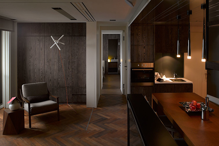 Li Residence 现代客厅設計點子、靈感 & 圖片 根據 沈志忠聯合設計 現代風