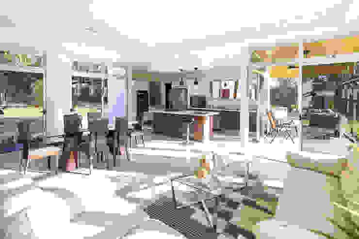 Sala de estar - comedor - cocina Livings de estilo moderno de J-M arquitectura Moderno Vidrio